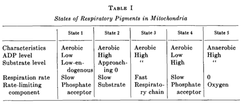 Respiratory states (Chance&Williams 1955)